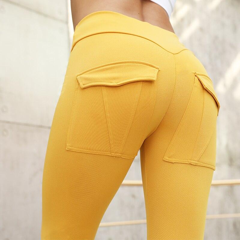 CHRLEISURE Women High Waist Fitness Leggings Push Up Workout Leggings Feminina Solid Pocket Leggings Mujer 7Color