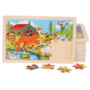 Image 2 - أحجية أطفال خشبية عالية الجودة مقاس 22.5*15 سم كبيرة الحجم تحتوي على 24 كرتونية للأطفال ألعاب تعليمية خشبية للأطفال البنات والأولاد
