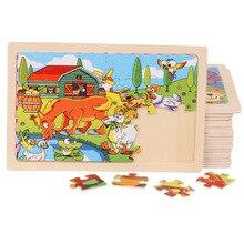 Высокое качество размер 22,5*15 см деревянные Большие 24 шт мультфильм животных детские головоломки деревянные развивающие игрушки для мальчиков и девочек