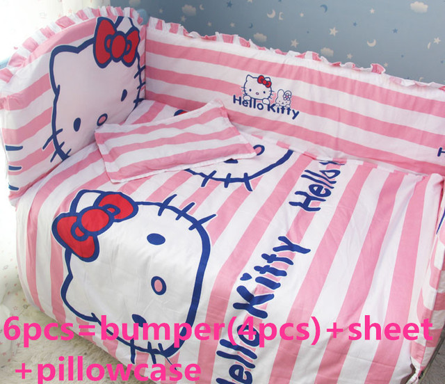 Promotion! 6PCS Hello Kitty Baby Bedding Set ,Crib Baby Cradle Kit Set (bumpers+sheet+pillow cover)
