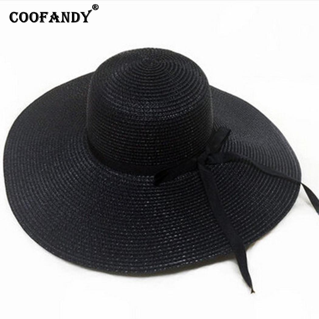 New Fashion Summer Foldable Sunscreen Ultraviolet Big Round Brim Beach Hat Solid Bow Tie(China)