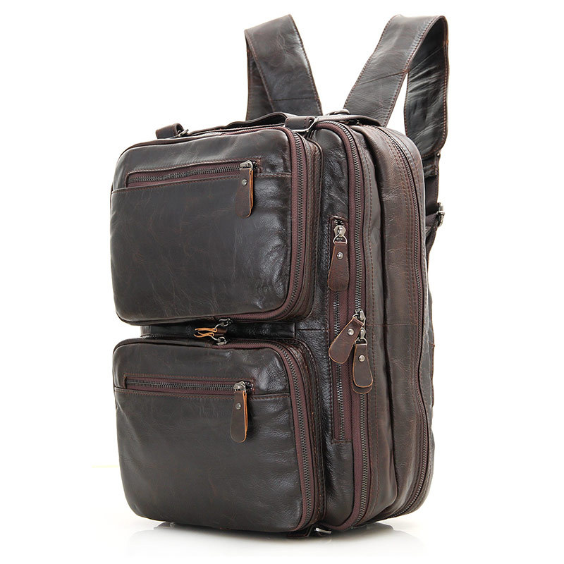 Nesitu High Quality Best Gift Coffee Color Vintage Genuine Leather Men Backpacks Portfolio Men Travel Bags Shoulder Bags M7014
