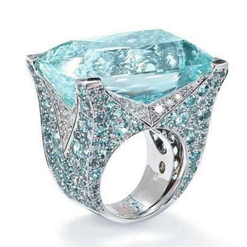 สีฟ้าขนาดใหญ่เจ้าหญิงหินตัดแหวนคริสตัลเงินสำหรับผู้หญิงสาวหมั้นของขวัญวันเกิดเครื่องประดับหรูหราแหวน F5X874