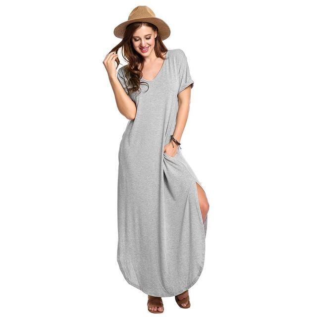 None Sleeve Solid with Maxi Women Split V-Neck Pocket Dress Casual Fit Loose Batwing