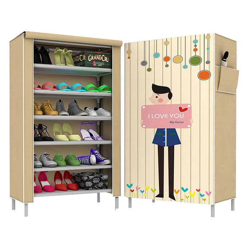 Simple Fashion Cartoon Multi-store Shoes Cabinet Non-woven Cloth Dustproof Shoe Shelf 3D Pattern Shoe Organizer Rack цена