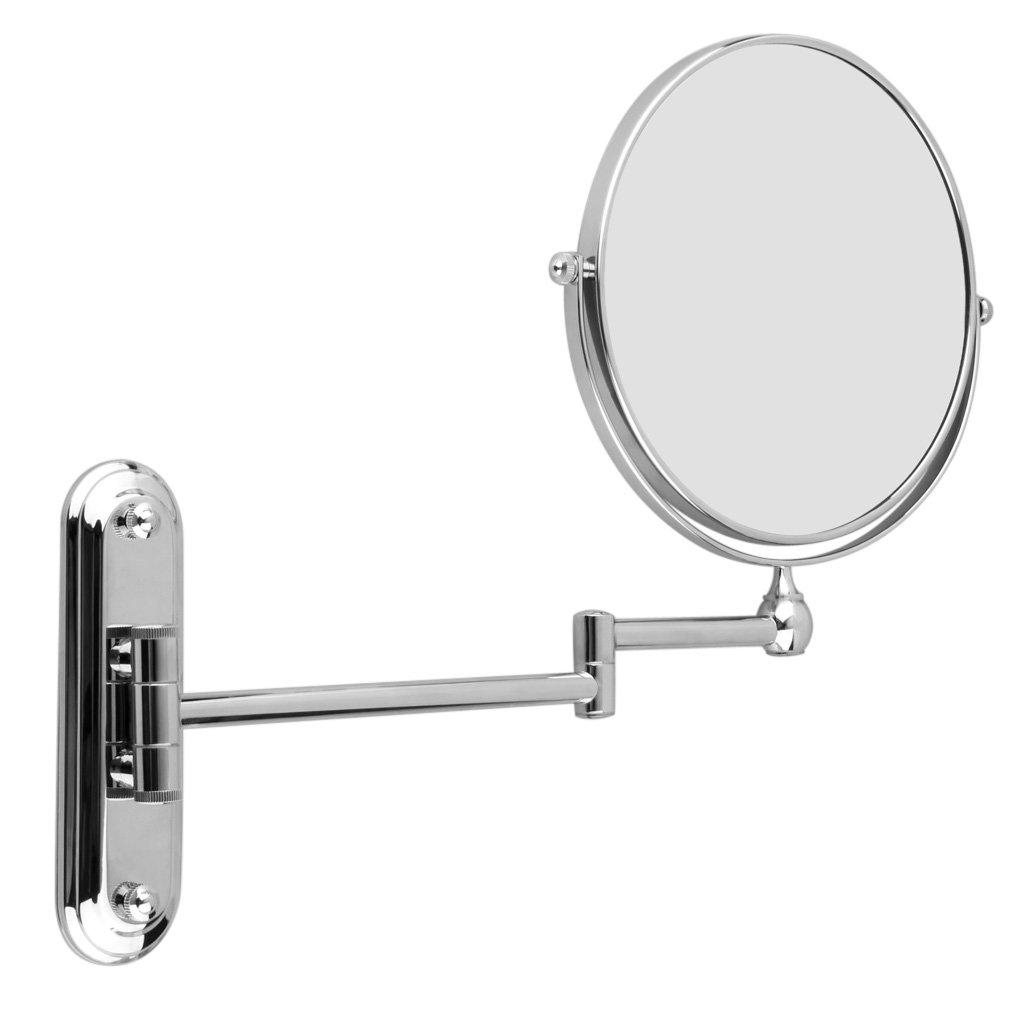 HTHL-Silver Extending 8 inches cosmetic wall mounted make up mirror shaving bathroom mirror 7x Magnification silver extending 8 inches cosmetic wall mounted make up mirror shaving bathroom mirror 5x magnification