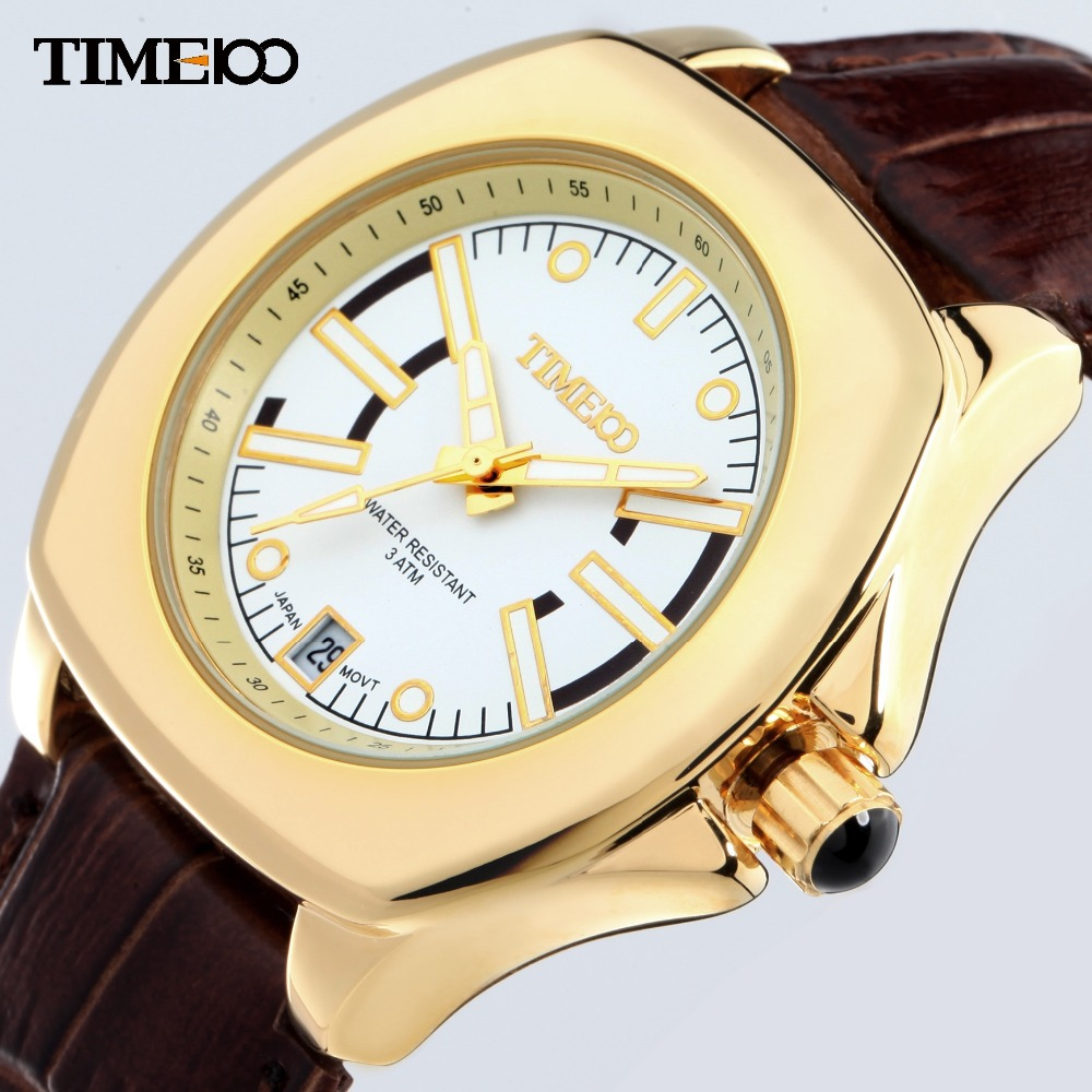 TIME100 Women Watches Water Reistant Gold Alloy Case Brown Leather Strap Business Laides Wrist Watch For Women relogio feminino 2017 time100 women watch luxury brand simulated ceramics strap waterproof ladies wrist watches for women relogio feminino