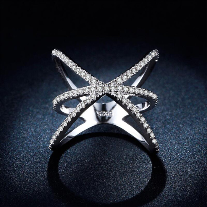 QCOOLJLY Wholesale Classic Style Crystal Silver Color Cross X Shape Wedding Party Fashion Design Romantic Ring Size 6 7 8 9 10