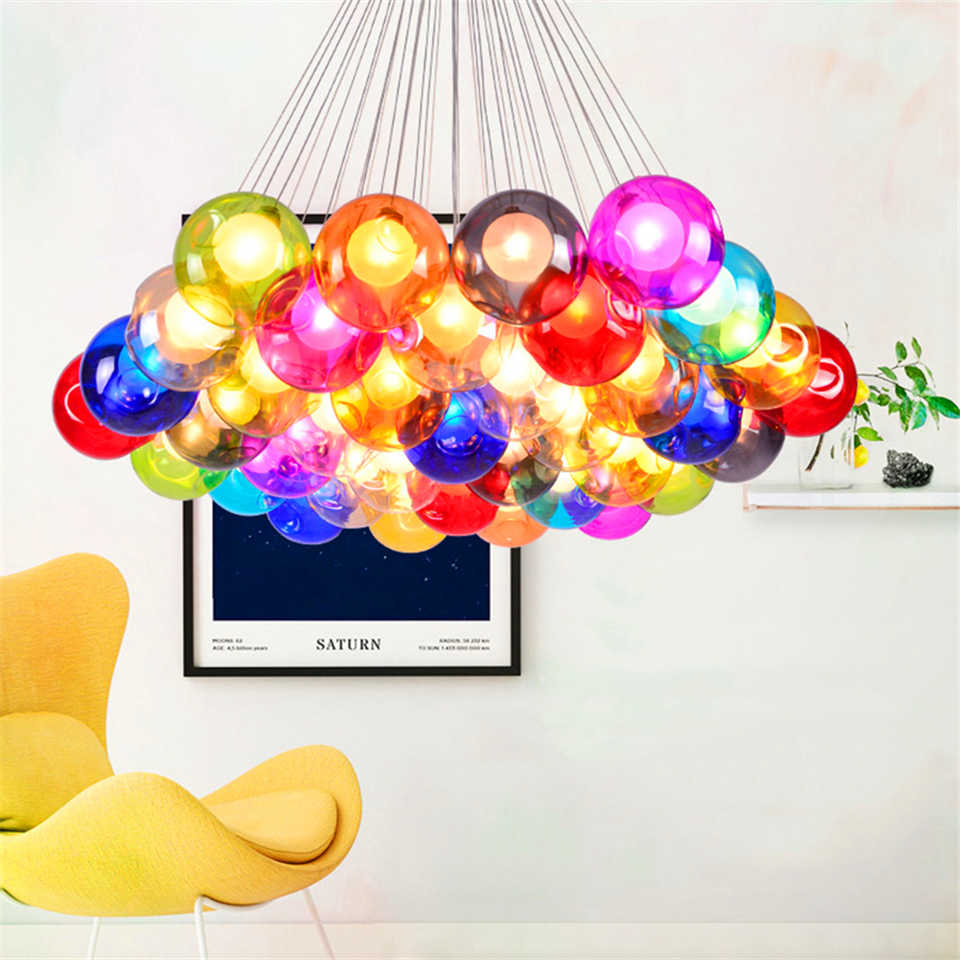 Modern Bubbles LED Chandelier Ball Lighting Colorful Home Decor Dimming Hanging Lamp Bedroom Living Room Indoor Children Room