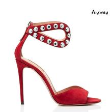 Aiyoway 2019 Spring Women Shoes Peep Toe High Heels Sandals Ladies Wedding Party Dress Back Zipper Red Faux Suede