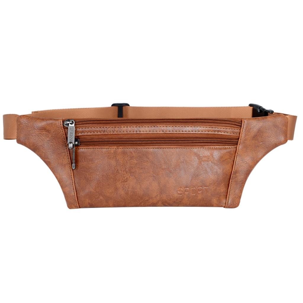 Unisex Mini Waist Bag Chest Pack Pure Color Fanny Pack Shoulder Zipper Belt