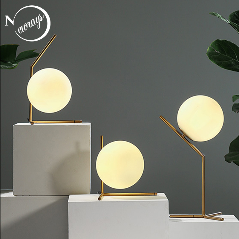 Modern simple iron glass table lamp art deco ball shaped desk lamp LED E27 with 3 styles for foyer bedroom study office hotel