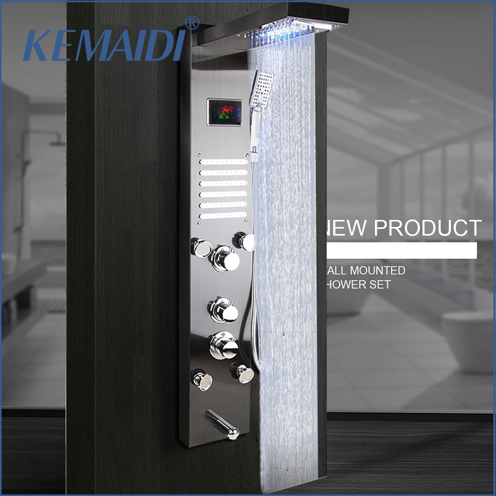 KEMAIDI Black Nickel Brushed Digital Display Shower Panel Column LED Rain Waterfall Shower Spa Jets Bath