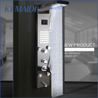 KEMAIDI Black Nickel Brushed Digital Display Shower Panel Column LED Rain Waterfall Shower Spa Jets Bath Shower Mixer Faucet