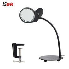 10X/15X Daylight Bright Magnifying Desk Lamp, Lighted Magnifier with Stand & Clamp - for Reading, Close Work - Black