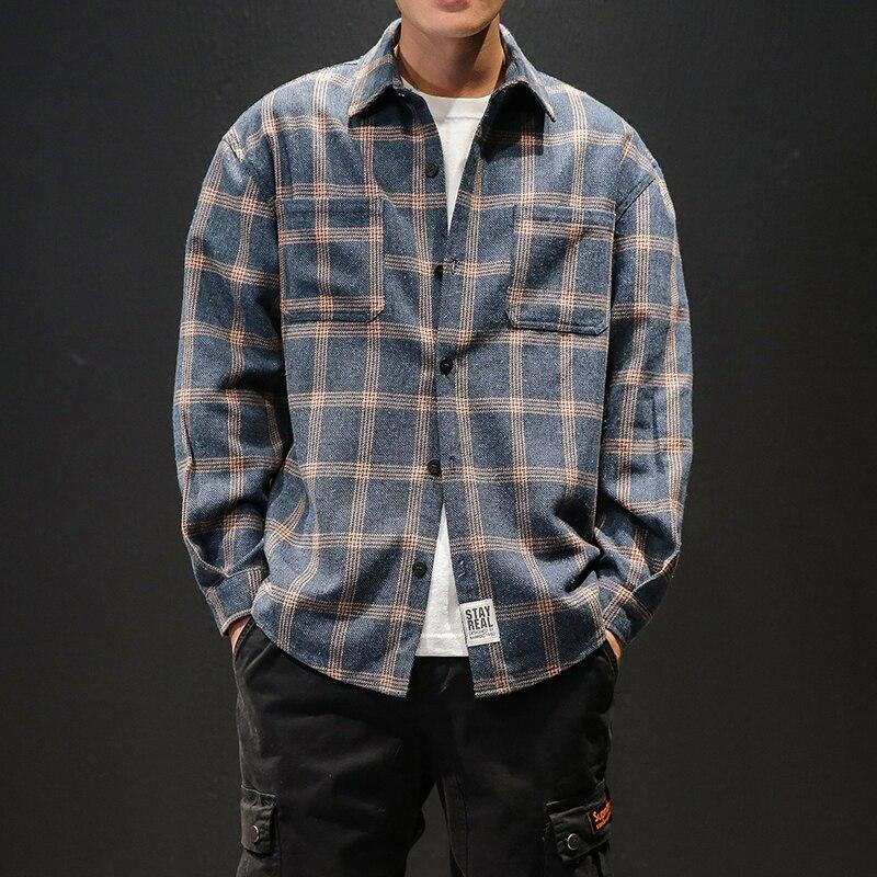 M 5XL mens shirts casual slim fit high quality shirts men dress plus size plaid men long sleeve shirt