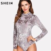 SHEIN Stand Collar Floral Velvet Bodysuit Women Button Long Sleeve Bodysuits Sexy Party Wear Grey Mid
