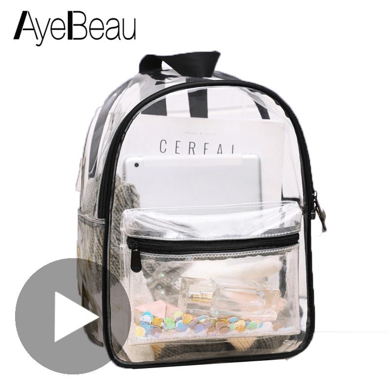 Clear Transparent Backpack Women Men Female Male Bagpack Schoolbag School Bag For Girl Children Teen Feminina Back Pack Rucksack