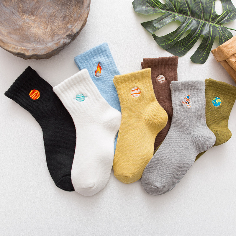 SP&CITY Women Winter Thick Ankle Cotton Socks Cartton Planet Pattened Solid Colored Female Hipster Socks Embroidery  Funny Sox