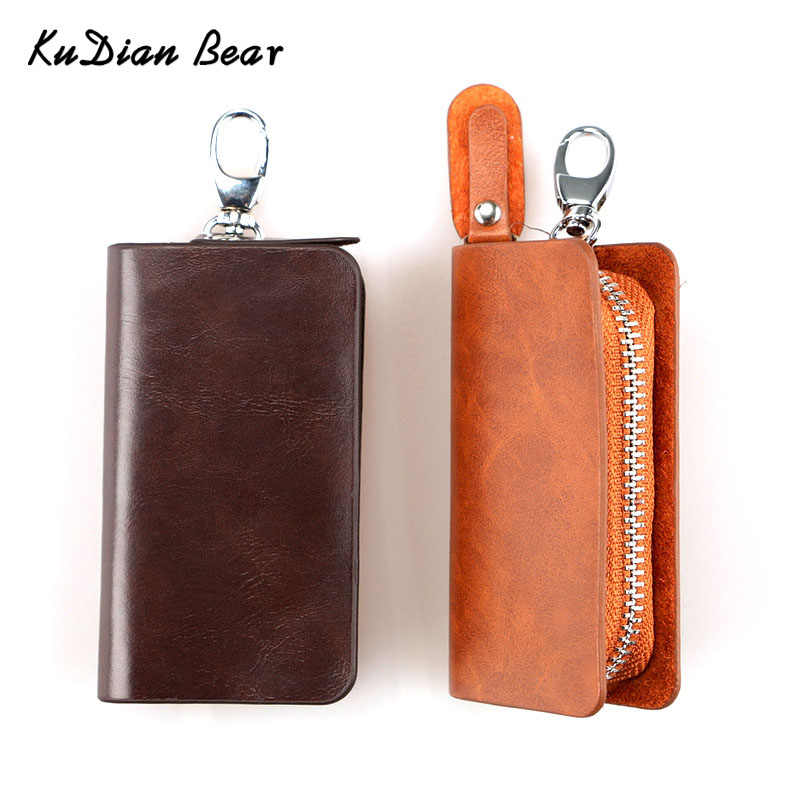 KUDIAN BEER Fashion Simple Key Houder PU Leather Wallet Solid Mannen Sleutel Portemonnee Organisator Zak Draagbare Auto Card Case BID112 PM49