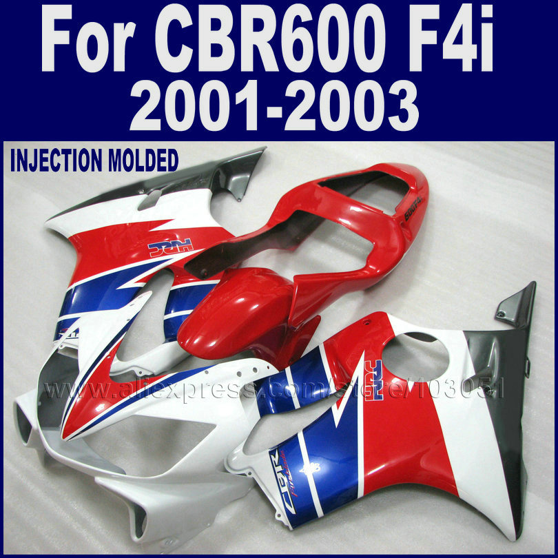 Custom ABS motorcycle fairings kit for Honda 2001 2002 2003 CBR 600 F4i 01 02 03 cbr 600 f4i red white blue fairing bodywork kit d1406 2sd1406 to 220f
