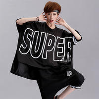 High Quality 2017 New Arrival Large Size Punk Women Loose Large Letters Super Bat Sleeve Half
