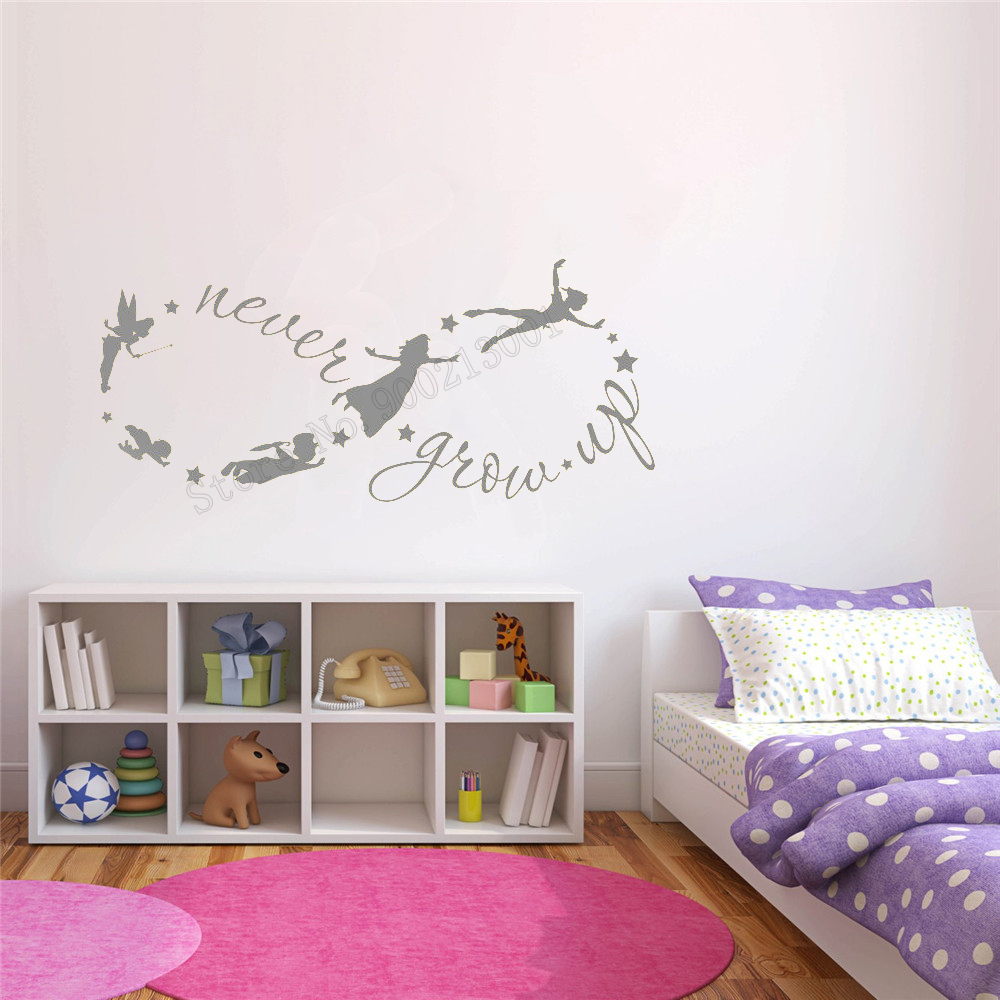 Art Home Sticker For Kids Room Decoration Never Grow UP Baby Art Decorative Poster Mural Fairystyle Nursery Bedroom Decor LY13 in Wall Stickers from Home Garden