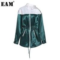 [Eam] 2018春夏新しいファッション白緑スプライスセクシーなストラップレスのジッパーポケットサッシハイウエスト女