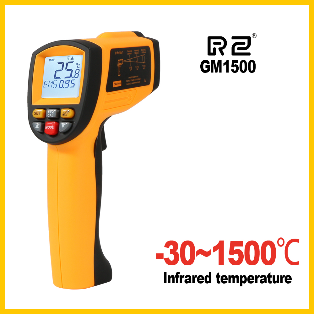 RZ GM1500 Non-Contact LCD display IR Infrared Digital Temperature Gun Thermometer цена