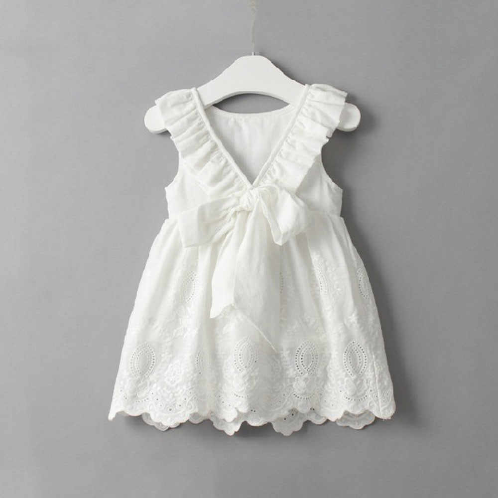 CHAMSGEND ขายสีขาวแฟชั่นฤดูร้อนเด็กทารกเด็กหญิงดอกไม้พิมพ์ลูกไม้ Princess Hollow ชุดเสื้อผ้า Sundress P30 MAY17