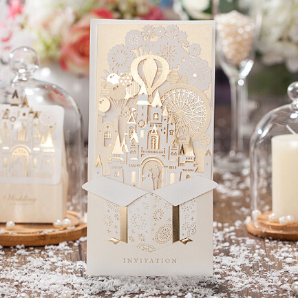 Wishmade 2d gold castle design wedding cards laser cut invitation wishmade 2d gold castle design wedding cards laser cut invitation cards cw5093 stopboris Image collections
