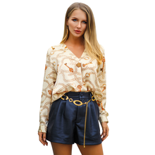 2019 spring and summer new long-sleeved V-neck fashion satin women top lace blouse N30D