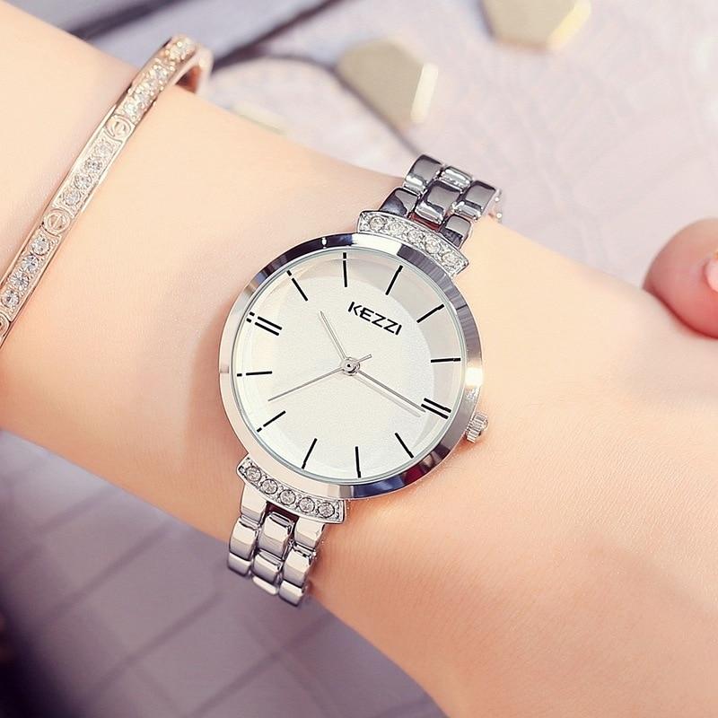 KEZZI Marque De Luxe En Acier Inoxydable Femmes Montres Simple Étanche Quartz Montres Dames Robe Montre Horloge Reloj Mujer