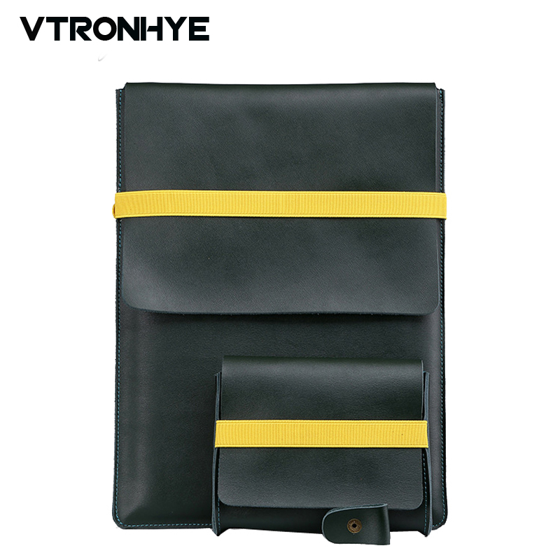 11 13 15 Inch Genuine Leather Laptop Bag For Macbook Air Pro Retina 11 13 15