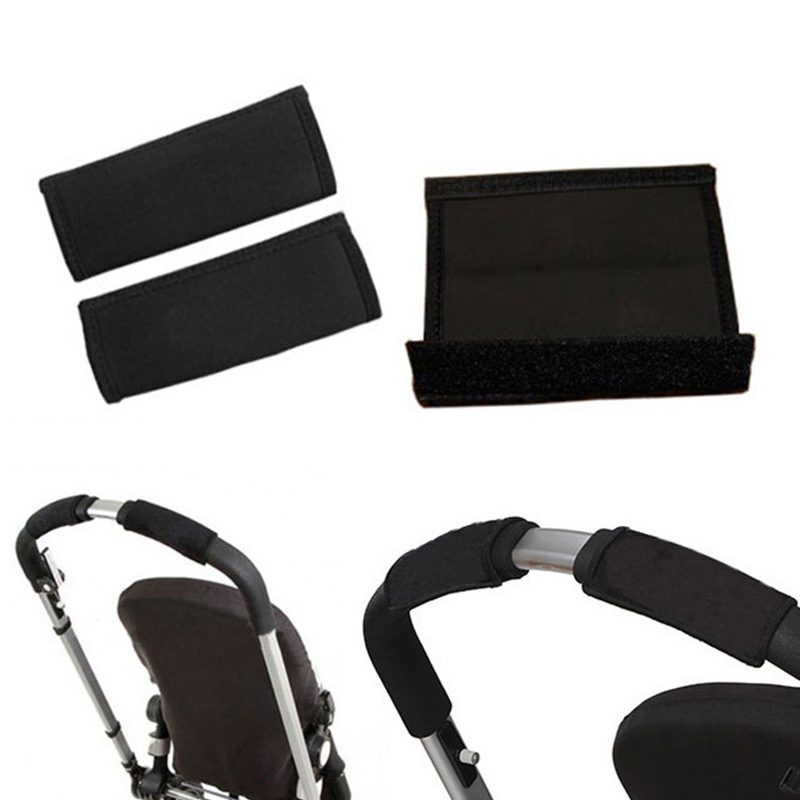 Strollers Accessories 2 Pcs Non-slip Mat Hand Protector Baby Stroller Grip Cover Skid Cover Tools Black Multi Resistance Wheelchairs Poussette