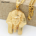 Tino Carlo 2017 New Trendy Men  S.Steel Akhnaton Pharaoh Necklace Personality Sphinx Africa Necklace Tutankhamun Necklace