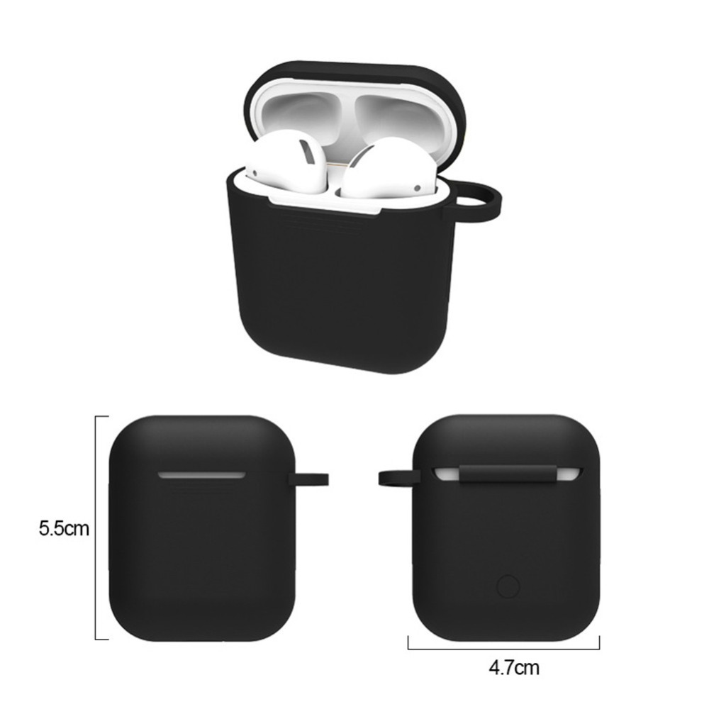 Wireless Earphone Case For Apple Airpod Case Cover Silicone Protective Skin For Airpods Charge Box Accessories Shell With Hook in Earphone Accessories from Consumer Electronics