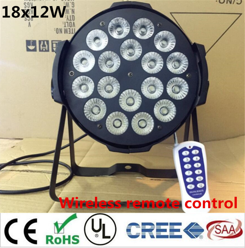 Wireless remote control 18x12W Led Par Light RGBW 4in1 DMX Professional Lighting Indoor Stage Lights DJ Equipment Par Led