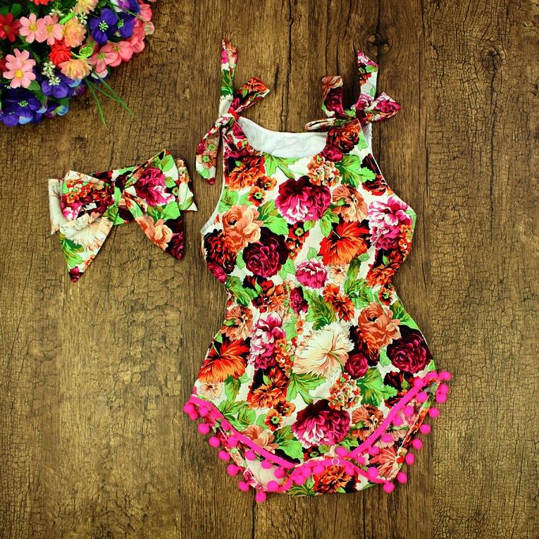 2016 nuevos mamelucos del bebé boutique de verano vintage floral - Ropa de bebé