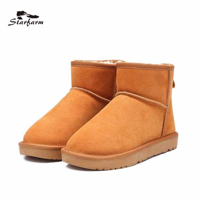 STARFARM Boots 2017 Shoes Woman Winter Boots Genuine Cow Suede Australian Boots Fur Slip On Shoes