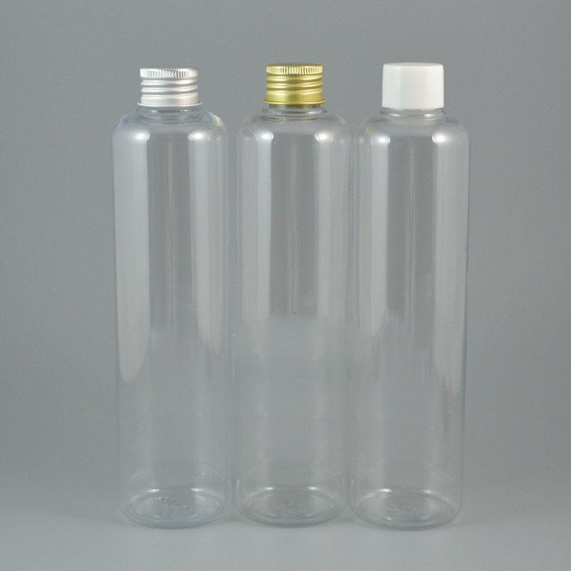 25pcs 330ml empty Transparent plastic PET bottle Cosmetic container Aluminum bottle cap Liquid plug