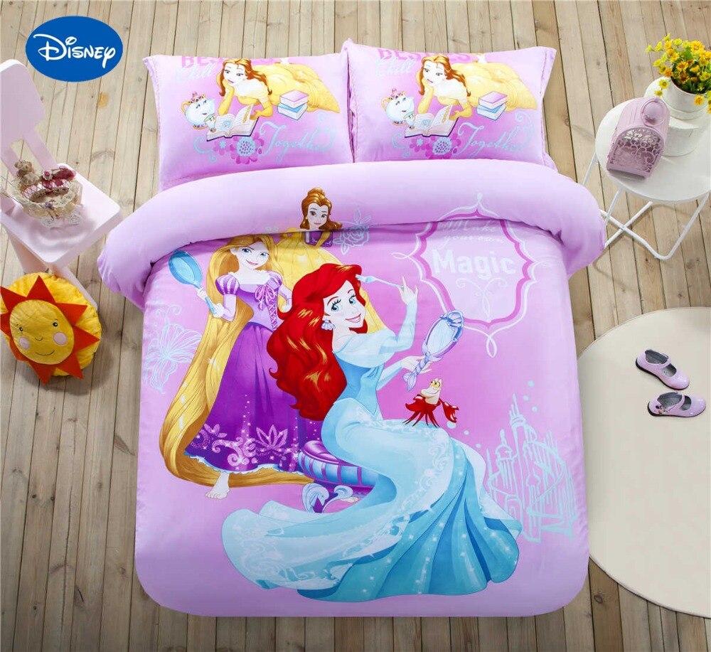 Disney Cartoon princesse imprimé ensembles de literie filles chambre décor Satin coton couvre-lit simple double reine roi taille orchidée légère