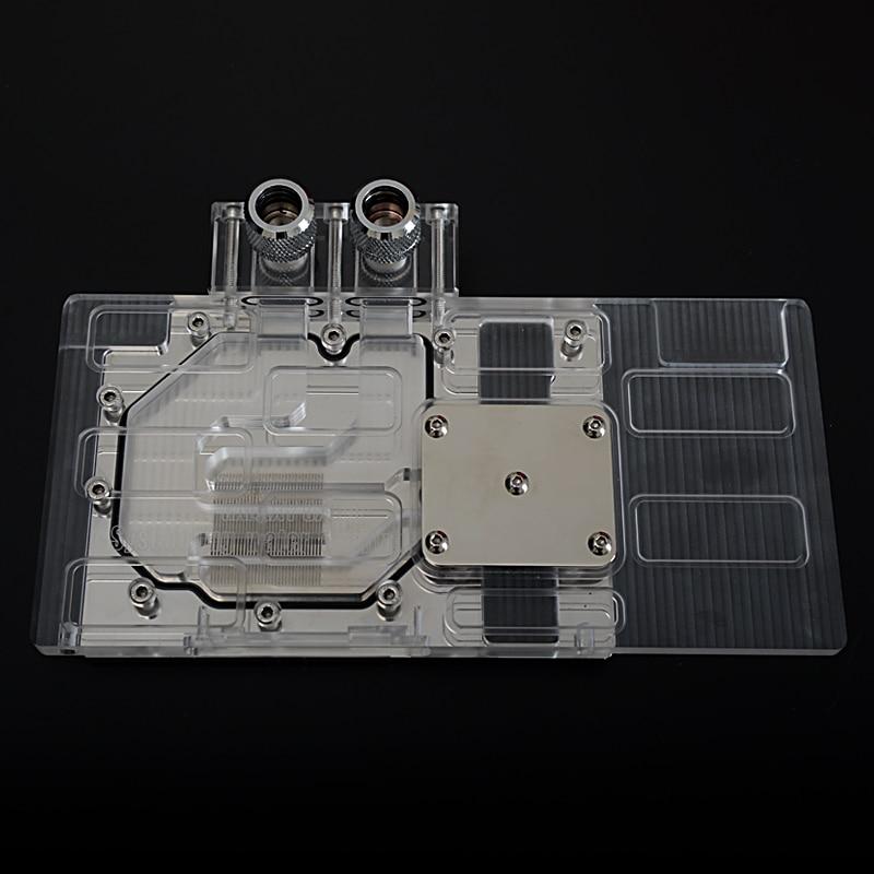 Bloque de agua de cobertura total de acrílico transparente de Syscooling para el claro GTX970 Bloque de agua GPU gráfico del salón de la fama