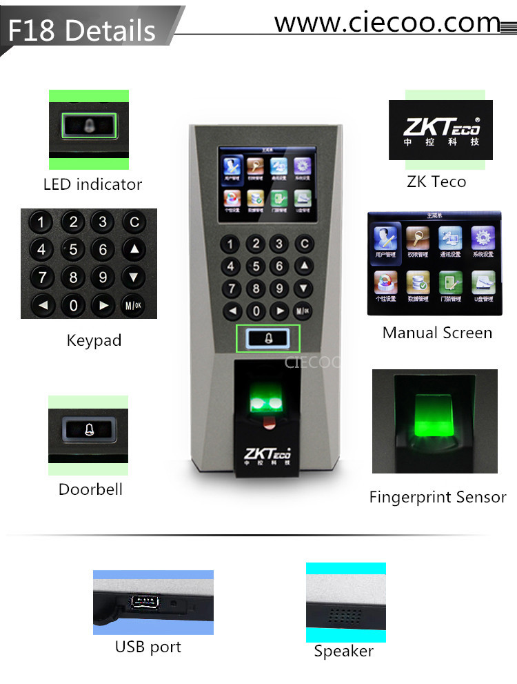 3000 templates and 30000 transaction ZK Finger v10 0 biometric Security  Fingerprint Access Control for door-in Fingerprint Access Control from