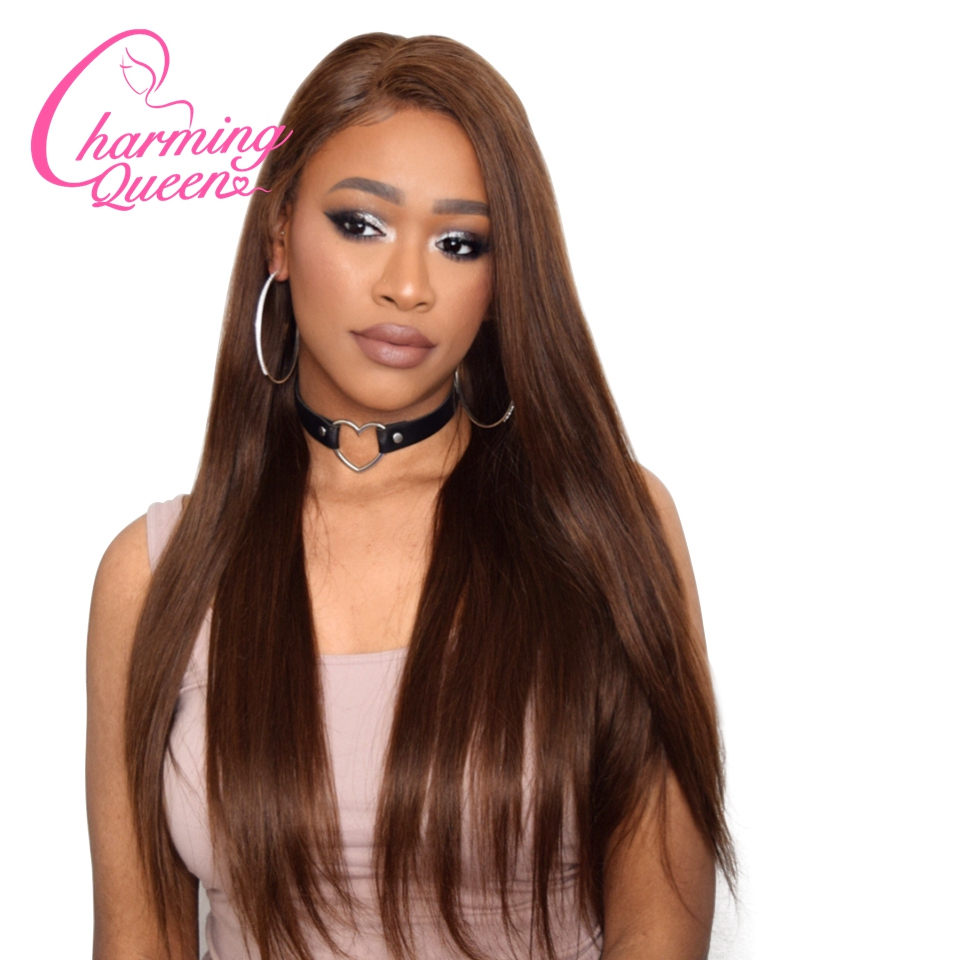 Charming Queen Straight Lace Front Human Hair Wigs For Black Women Pre Plucked Remy Hair Wigs