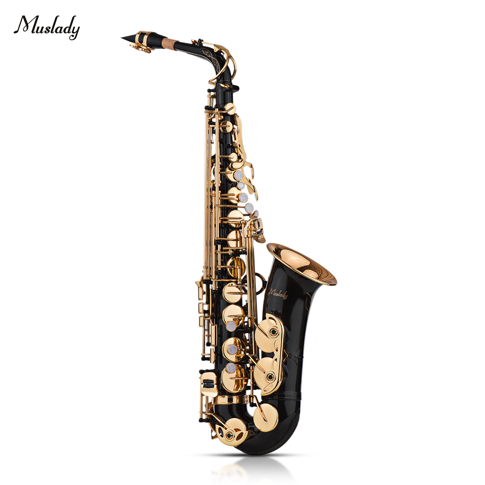 Muslady Eb Alto Saxophone Sax Brass Lacquered Gold 82Z Key Type Woodwind Instrument with Padded Case Gloves Cloth Brush ReedsMuslady Eb Alto Saxophone Sax Brass Lacquered Gold 82Z Key Type Woodwind Instrument with Padded Case Gloves Cloth Brush Reeds