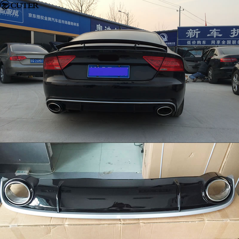 A7 RS7 Style PP Rear Bumper Lip Diffuser For Audi A7 RS7
