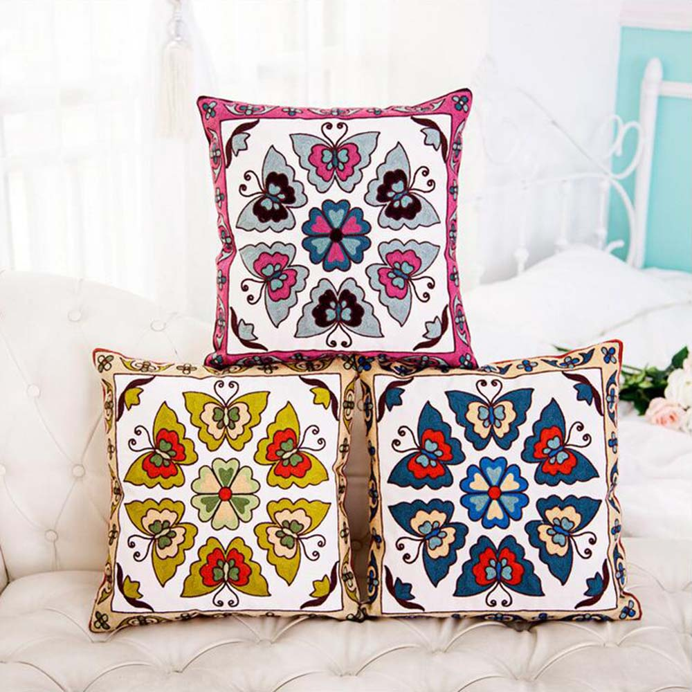 kids decorative pillows promotionshop for promotional kids  - wool embroidered classic colorful animals geometric pattern square homeoffice waste pad cotton canvas decorative pillow cover