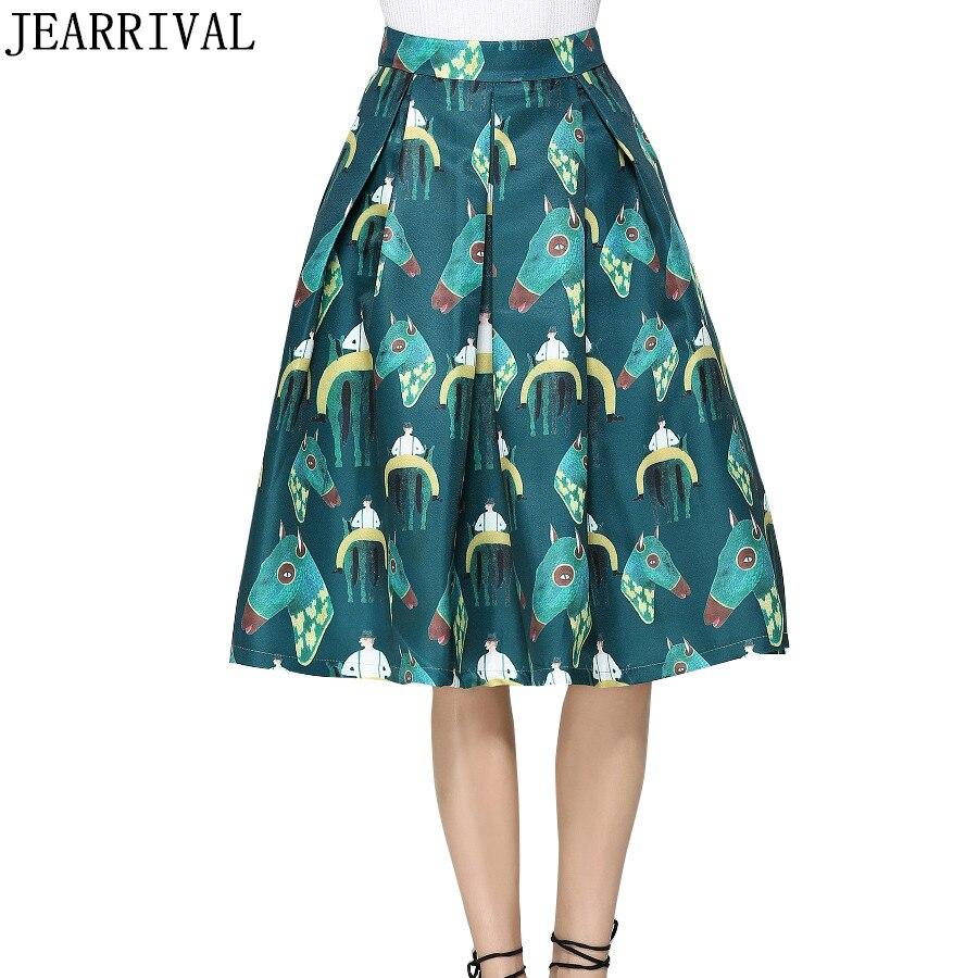 European Fashion Women Print Midi Skirt 2017 Autumn New Runway High Waist Vintage Print Flared Skater Skirts Saia Faldas Largas