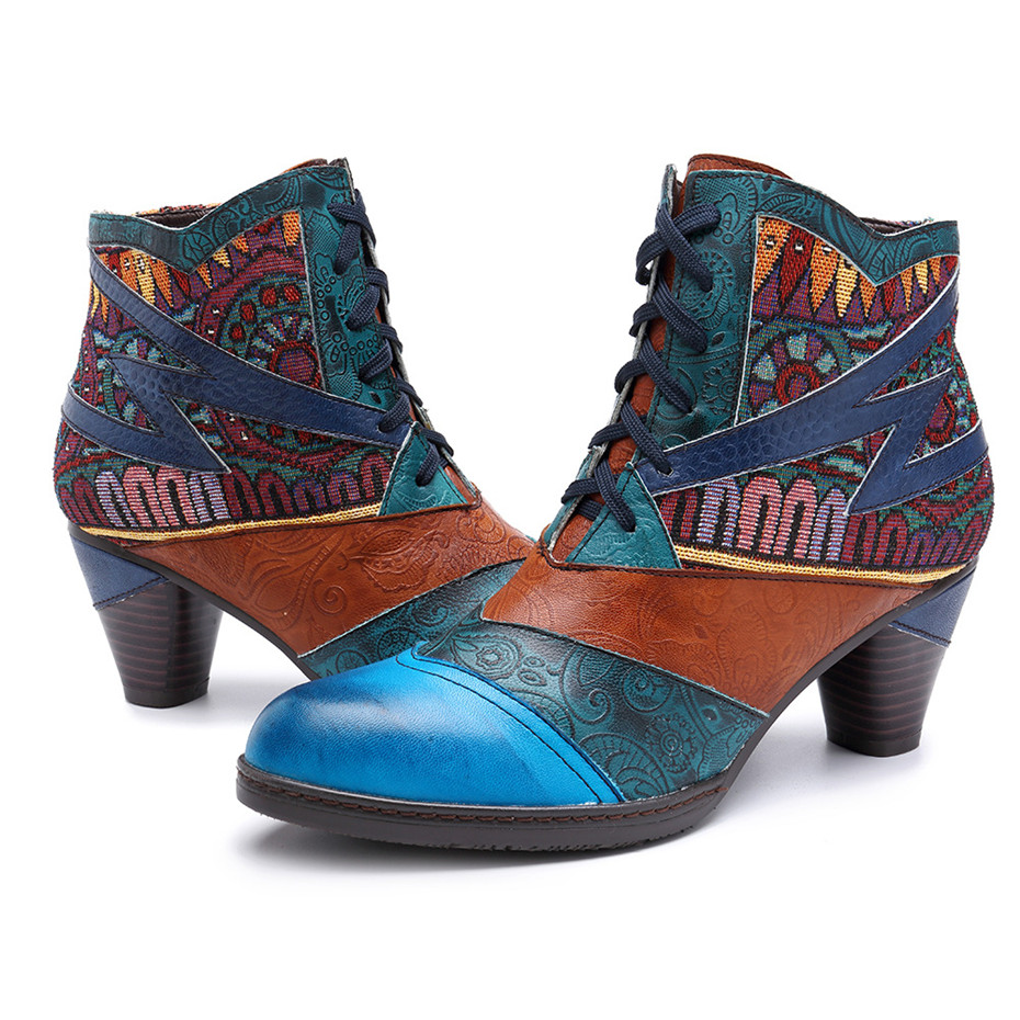 D Knight Bohemian Splicing Women Boots Retro Genuine Leather Shoes Woman Zipper Mid Heels Ankle Boots Spring Autumn Women Shoes (9)